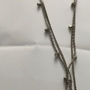 Doublestranded necklace, one row with Rhine stones